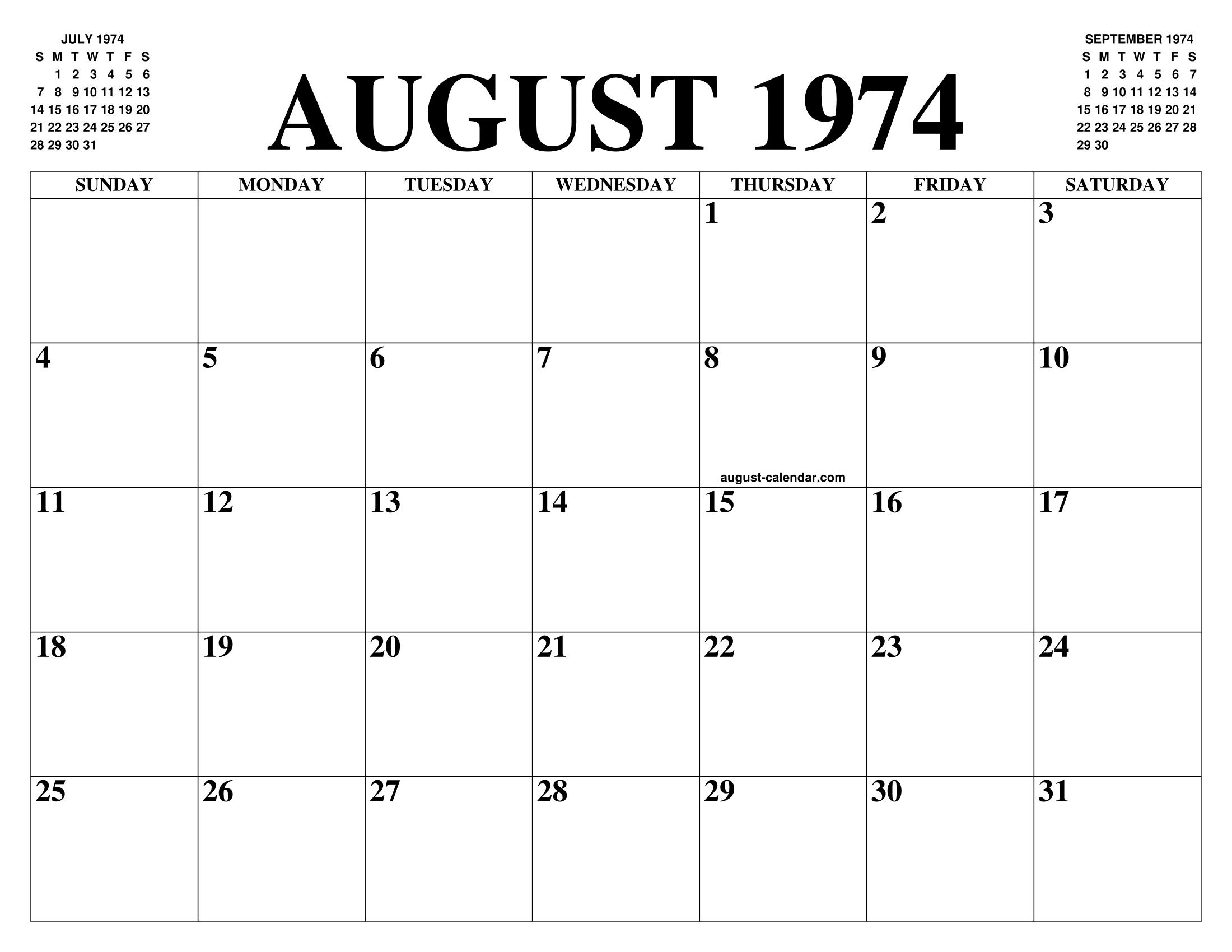 Calendario 1974.August 1974 Calendar Of The Month Free Printable August