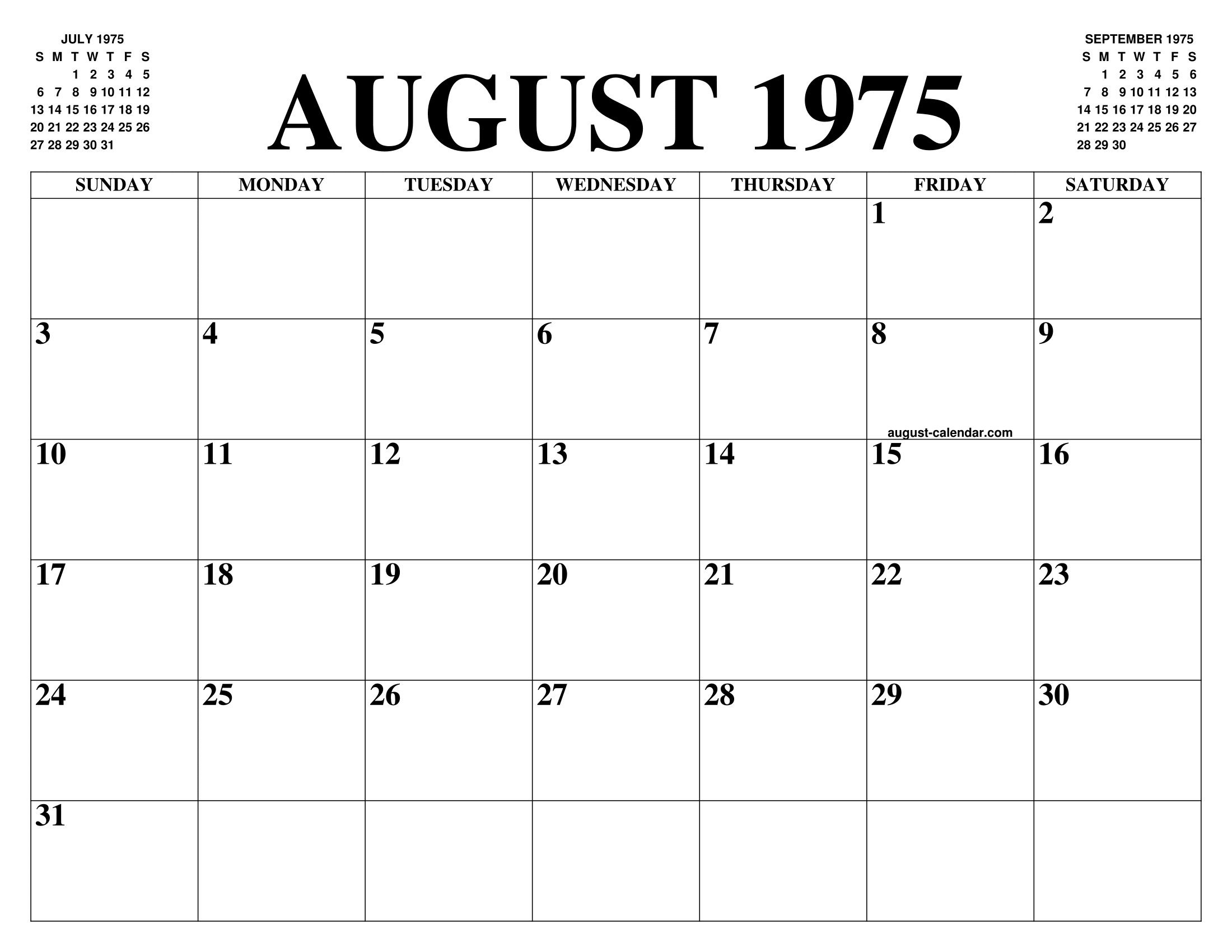 Calendario 1975.August 1975 Calendar Of The Month Free Printable August