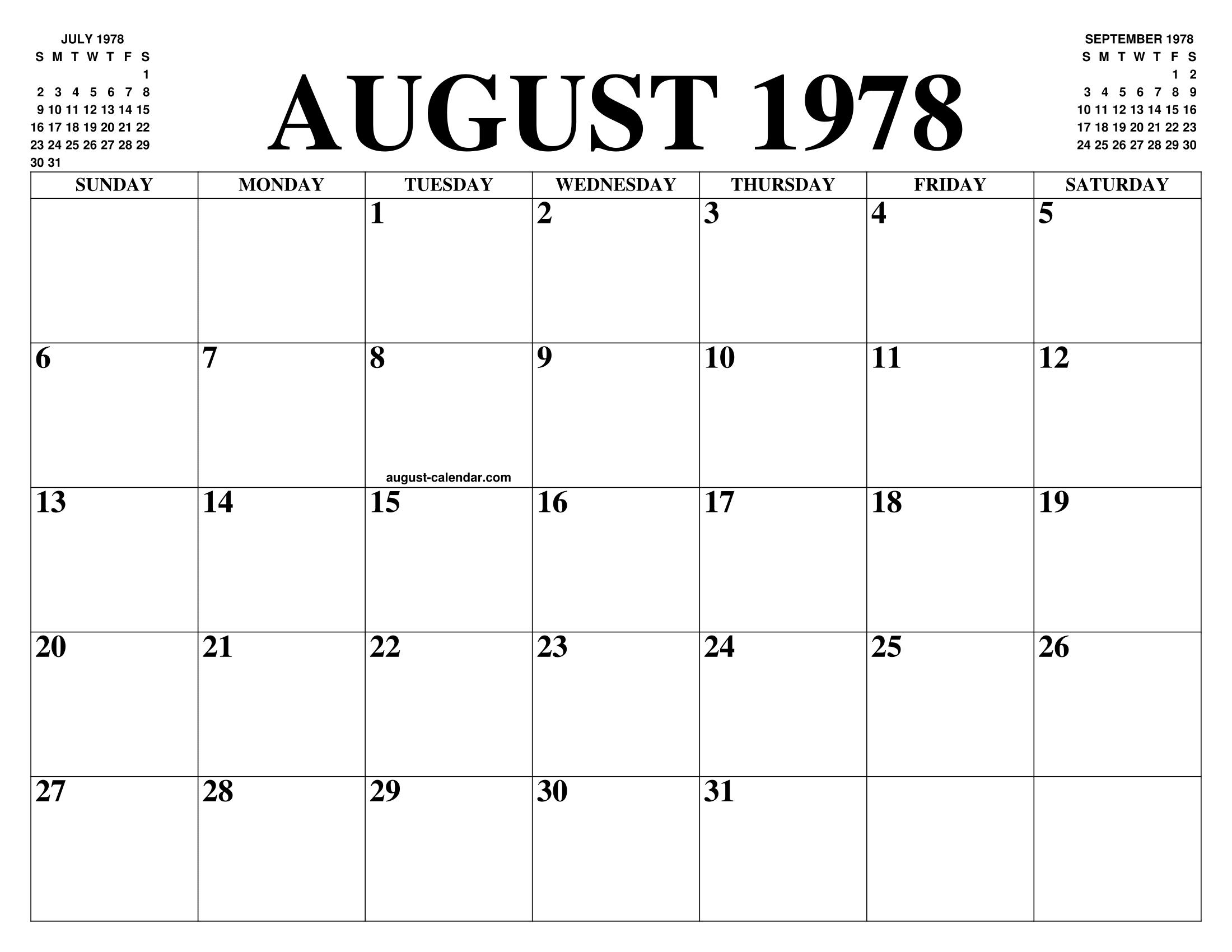 1978 Calendario.August 1978 Calendar Of The Month Free Printable August