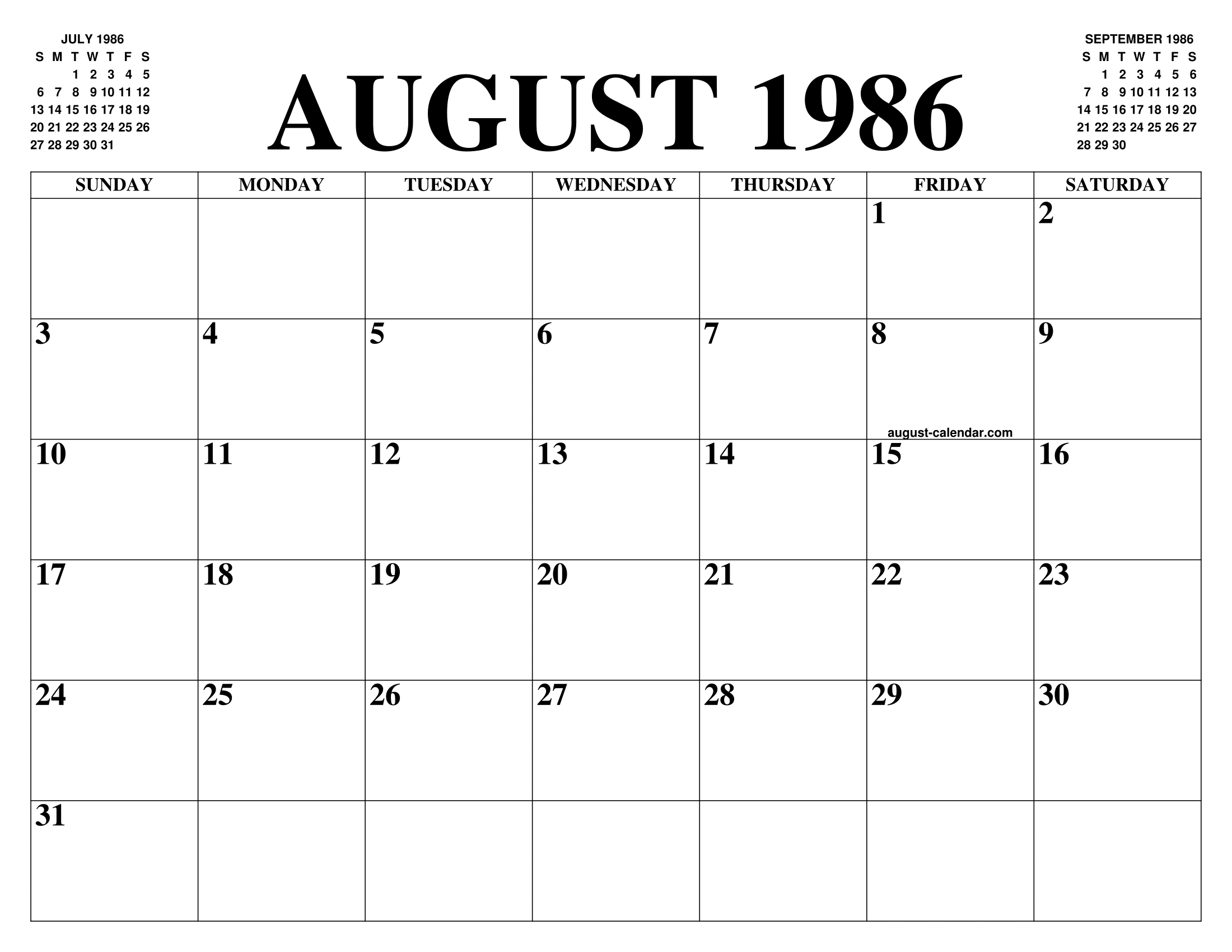 Calendario 1986.August 1986 Calendar Of The Month Free Printable August
