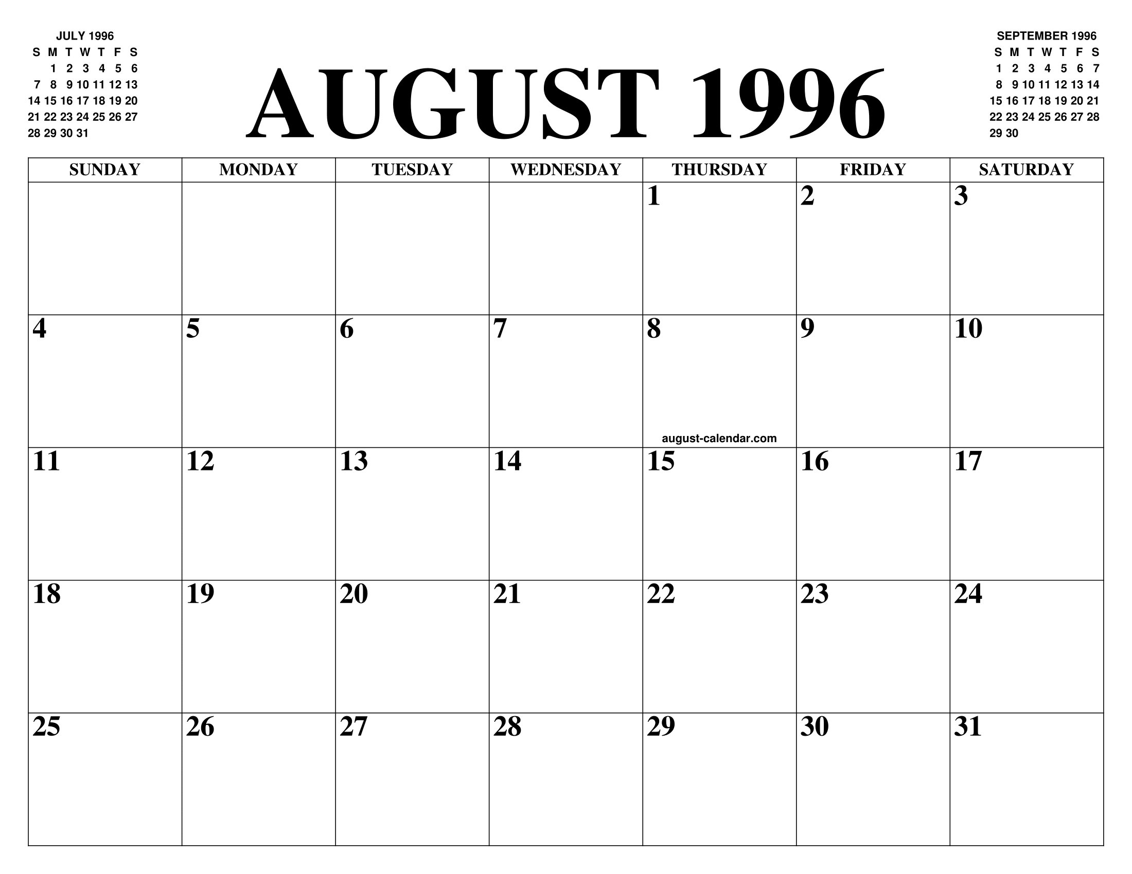 Calendario 1996.August 1996 Calendar Of The Month Free Printable August