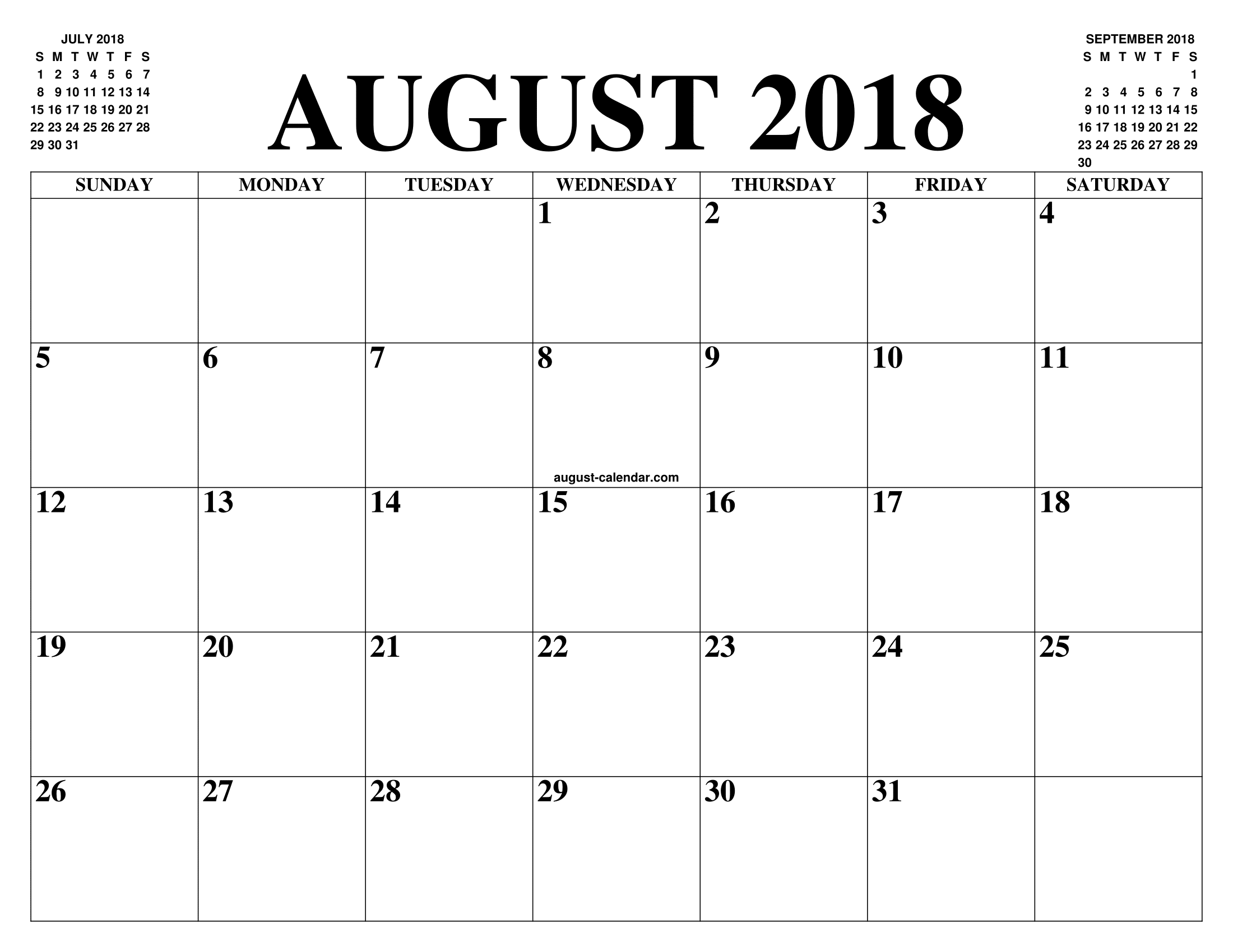 august 2018 2019 calendar of the month free printable. Black Bedroom Furniture Sets. Home Design Ideas