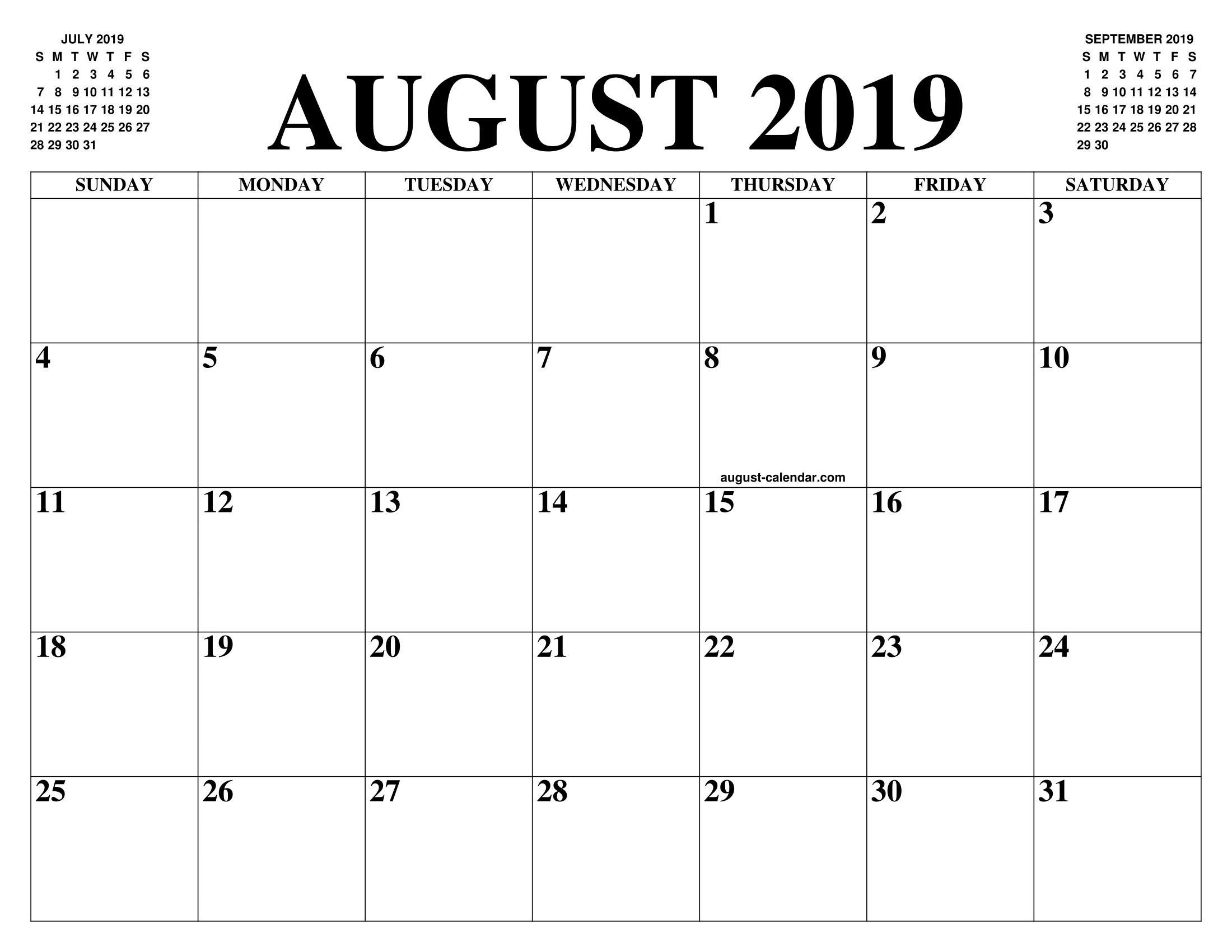 August 2019 Calendar.August 2019 2020 Calendar Of The Month Free Printable August 2019