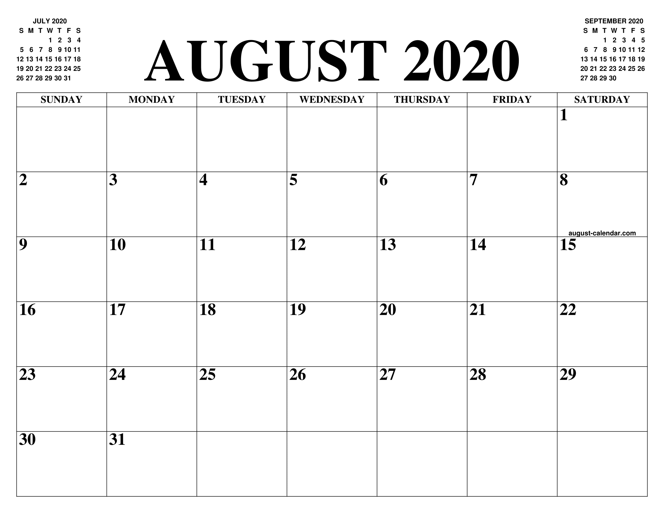 Blank Calendar August 2020.August 2020 Calendar Of The Month Free Printable August Calendar Of