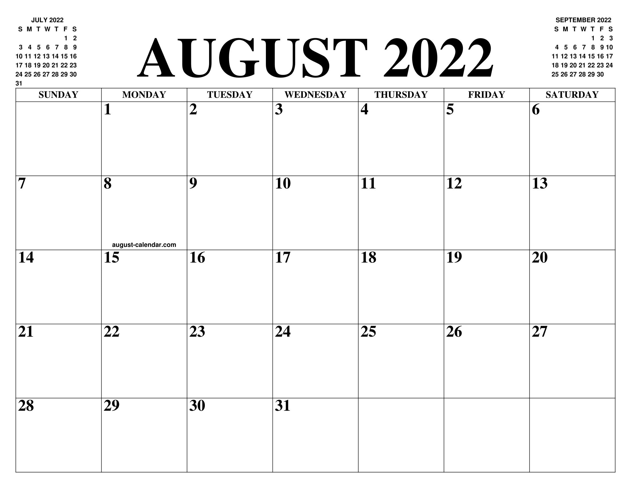 August Printable Calendar 2022.August 2022 Calendar Of The Month Free Printable August Calendar Of The Year Agenda